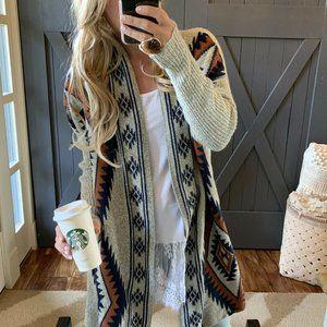 Native Print Cowichan Blanket Cardigan Sweater